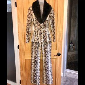 Like New-Cache Snakeskin Print Pantsuit